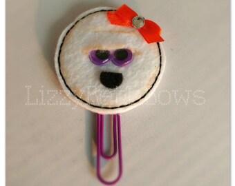 Mummy Planner clip, bookmark, planner feltie clip, felt bookmark, Halloween mummy, girl mummy, orange bow, purple eyes