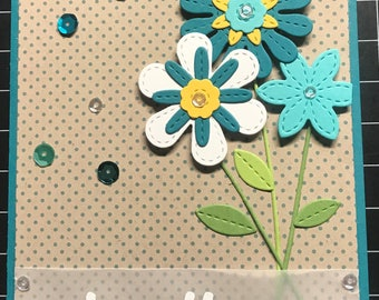 Teal Floral Get Well Soon Card