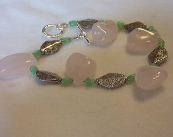 Chrysoprase Rose Quartz Silver Bracelet - 8 Inches
