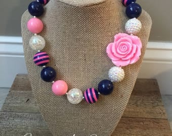 Chunky Bubblegum Bead Necklace in Pink and Navy with Pink Rose