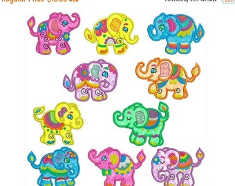 ON SALE ELEPHANTS - Machine Applique Embroidery - Instant Digital Download