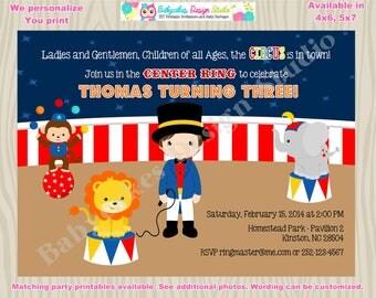 Circus birthday party invitation invite carnival birthday boy Circus invitation birthday party printable DIY Print Your Own