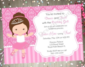 ballerina birthday invitation invite princess ballerina pink cute ballerina matching party printables CHOOSE YOUR BALLERINA