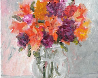 Original acrylic floral painting 8x8 Vase of Orange and Purple  Flowers