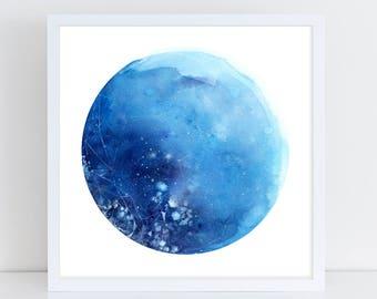 Blue Moon Wall Art. Full Moon. Moon Poster. Moon Print. Full Moon Prints. Gift for her. Starry Sky Art Print. Lunar Poster. CreativeIngrid.
