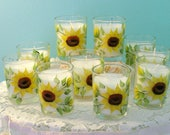 100 hand painted sunflower votives
