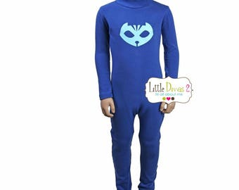 PJ Mask-Unitard Blue/Child ---Mock Neck Unitard....Colors Available great for COSTUMES/HALLOWEEN