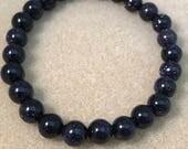 Blue Goldstone Bracelet, Goldstone Beaded Bracelet, Handmade Jewelry, Stretch Bracelet, Bead Bracelet, Gifts for her, 8mm Blue Goldstone