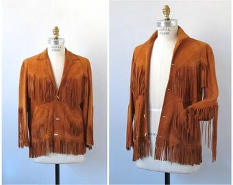 Vintage 60s Jacket | 1960's Brown Western Suede Leather Jacket by Adelina Jacket | Deerskin Leather | Boho, Hippie, Southwestern | Mens Smal