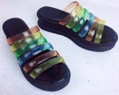 90's Rainbow Jelly Strap Clear Chunky Platform Wedge Heel Strappy Sandals // 7 - 7.5
