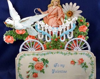 Vintage German Victorian 3D Stand Up Valentine Card, 1920s