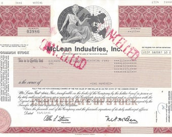 McLean Industries, Inc. Vintage Common Stock Certificate (red), 1980s