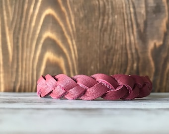 Braided leather bracelet - Berry