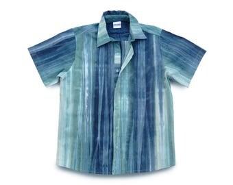 Mens Shirt Blue, TieDye Shirt, Blue Buttondown, Mens Blue Shirt, Boho Mens Shirt, Boho Blue TieDye