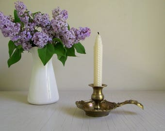 Ornate Brass Chamberstick Candle Holder , Solid Brass Candlestick Holder , Vintage Brass French Country Decor