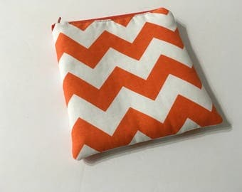 Orange and White Chevron Zippered Pouch, Small Csmetic Bag, Crochet/Knitting Notions Pouch, Quiltsy Handmade