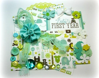 Echo Park Bundle of Joy Embellishment Kit/ Inspiration Kit/Cardmaking Kit /Baby Boy Kit/ Scrapbooking Card Mini Album Tag Paper crafts