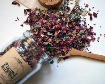 Floral Bath Tea for Stress Relief and Relaxation - Organic Herbs - gifts for Mom, gifts for women