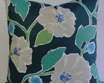 Robert Allen Madcap Cottage floral designer pillow cover - Teal green gray blue large print cotton decorative pillow cover Jungle Bloom