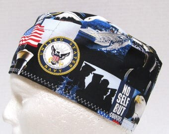 Mens Scrub Hat, Surgical Cap, Chemo Cap US Navy