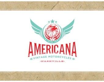 Custom Logo Design - PreDesigned Logo PreMade Logo Vector Logo - OOAK Logo - AMERICANA Logo - Eagle Logo - Vintage Logo - Old School Logo