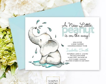 Elephant Baby Shower Invitation - A Little Peanut is on the Way Watercolor Elephant Modern Baby Shower Little Peanut Printable