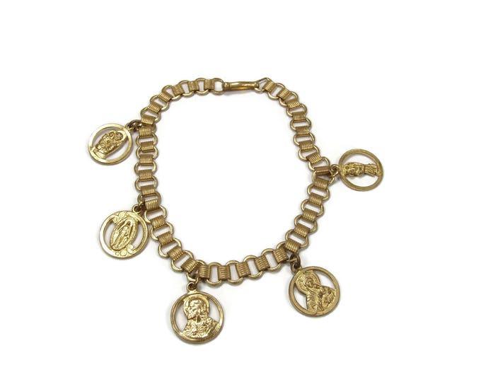 Vintage Catholic Medal Charm Bracelet with Miraculous Mary