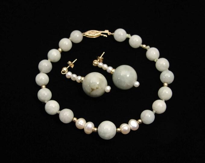 Vintage 14K Gold Jade Pearl Bracelet and Earrings