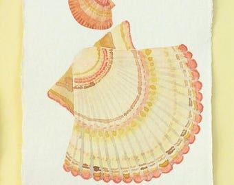 Original watercolour scallop sea shell painting illustration ocean beach series