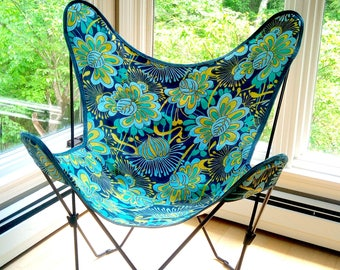 Vintage Butterfly Chair Cover Hand-Colored Blue, Green, & Aqua Retro Flowers circa 1990