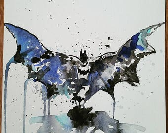 "Batman watercolor painting (8""x8"")"