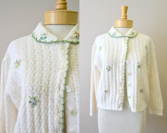 1960s May Claire Ribbon Embroidered Cardigan Sweater