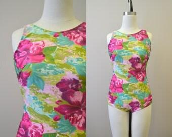1980s Classique Floral Swimsuit