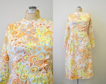 1960s Orange Abstract Floral Midi Dress
