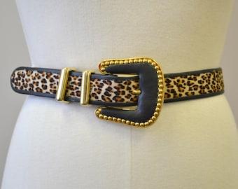 1980s Cache Leopard Print Belt
