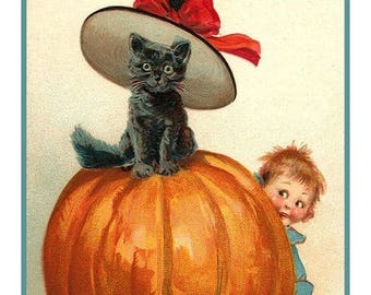 GREAT SALE Digital DOWNLOAD Child and Black Cat on a Pumpkin Vintage Halloween Counted Cross Stitch Chart / Pattern