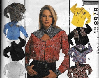 McCall's 6758 Misses Set of WESTERN SHIRTS Sewing Pattern Square Dancing Cowgirl Size 14, 16, 18