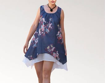 Navy Blue printed cotton double ruffle sleeveless tunic dress
