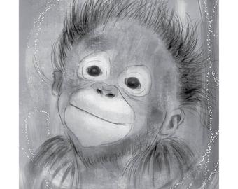 12x16 Inch Nursery Print - Monkey, Grey