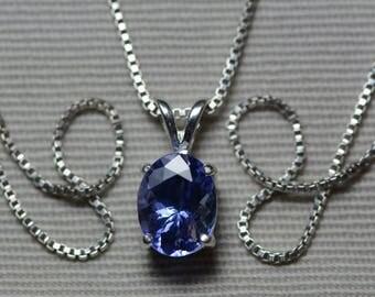 Tanzanite Necklace, Certified 1.80 Carat Genuine Tanzanite Pendant, Oval Cut, Sterling Silver, Real Genuine Natural Blue Tanzanite