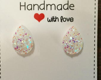 White Rainbow Teardrop Stud Druzy Earrings