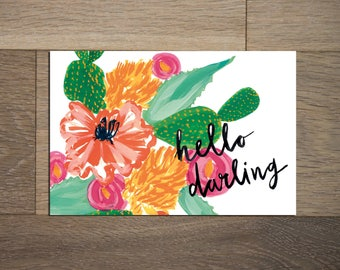 Southwest floral postcard set - 8 pack- cactus painting