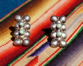 1930's Mexican Turquoise Earrings Screw back Southwestern