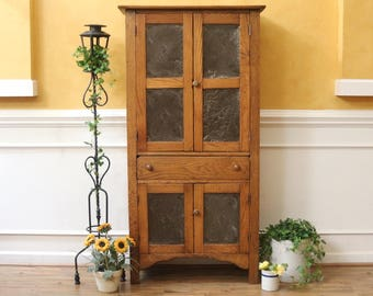 Antique oak Pie Safe Cupboard with Punched Tin Door Panels, American Early 19th C.