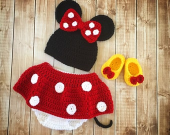 Minnie Mouse Inspired Costume/Minnie Mouse Hat/ Minnie Mouse Costume Available in Newborn to 18 Month Size- MADE TO ORDER