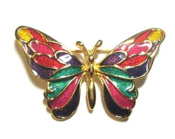 25% Off Vintage Multi-Colored Enamel Butterfly