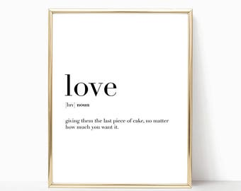 SALE -50% Love Quote Definition Print, Funny Home Decor, Digital Print Instant Art INSTANT DOWNLOAD Printable Wall Decor