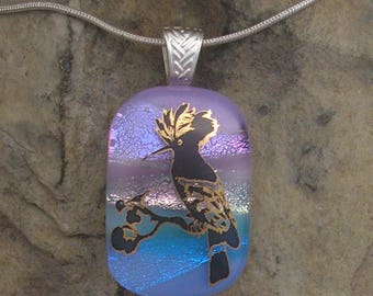 Bird Pendant Dichroic Fused Glass Hoopoe Necklace