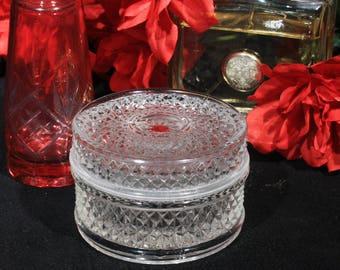Mid Century Diamond Point Clear Glass Powder Box / Trinket Box, Round Lidded Vanity Jar, Jewelry Box Casket, Bedroom Decor, Dresser Display