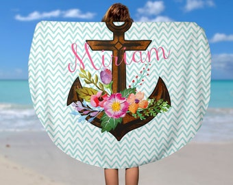 Round Beach Towel with Floral Anchor - Custom Roundie Beach Towel  - Soft Velour Monogram Beach Towel, Personalized Camp Towel